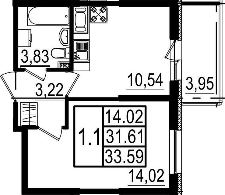 1-комнатная, 31.61 м²– 2