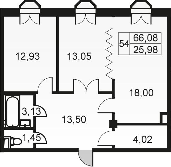 3-к.кв (евро), 66.08 м²