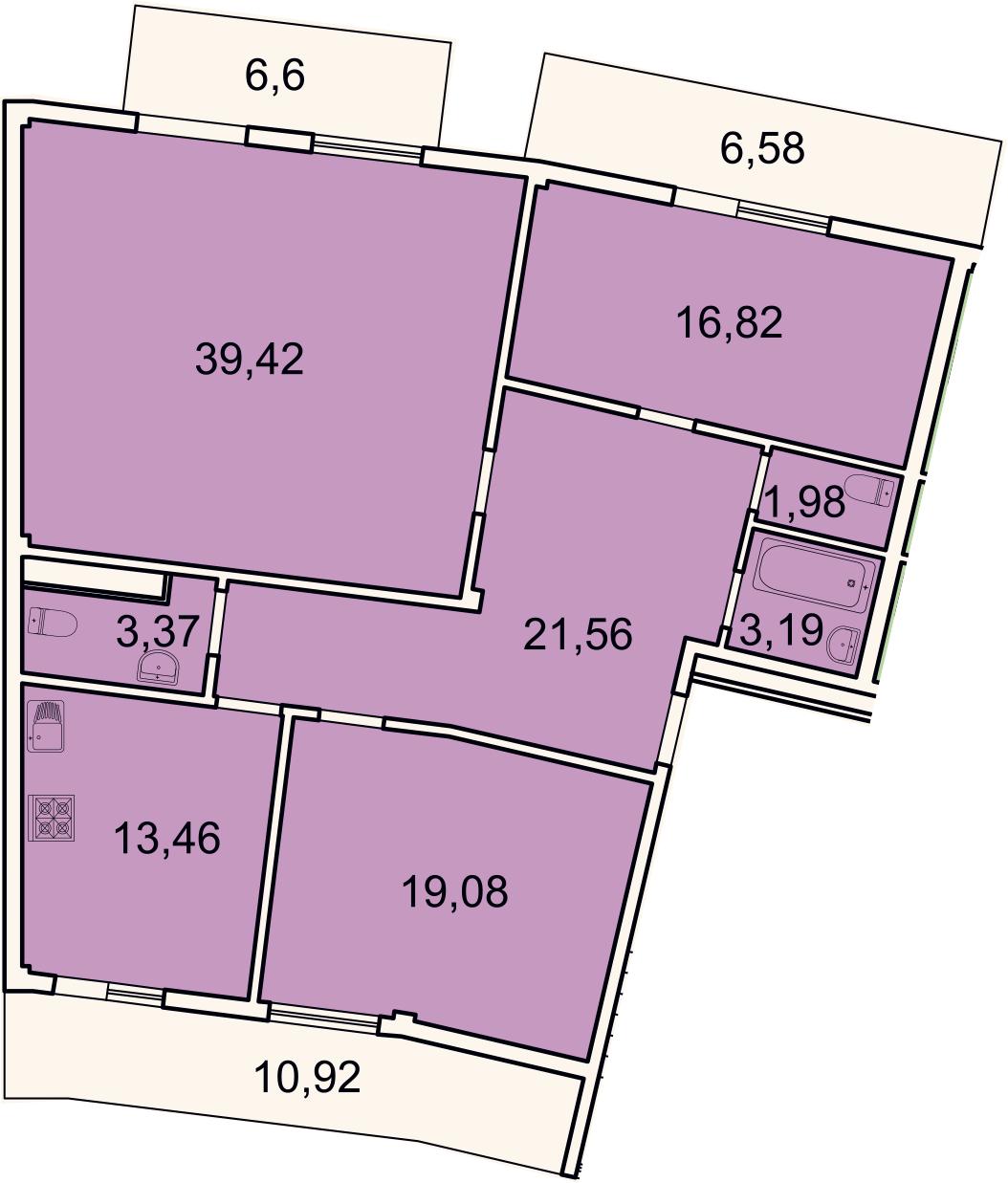 3-комнатная, 127.1 м²– 2
