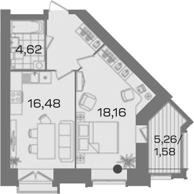 1-к.кв, 47.17 м²