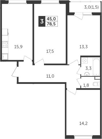 4Е-к.кв, 78.5 м²