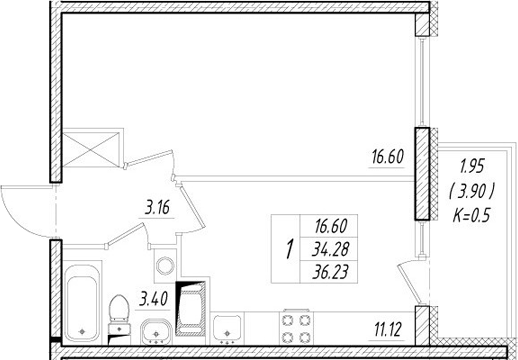 1-к.кв, 38.18 м²