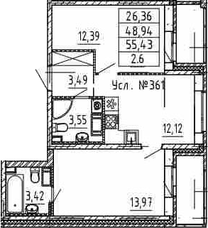 2-к.кв, 48.94 м²