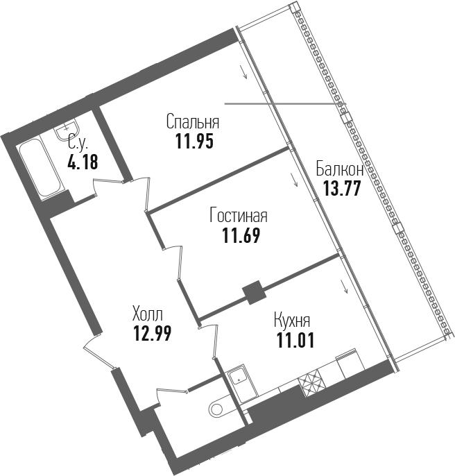 2-к.кв, 68.45 м²