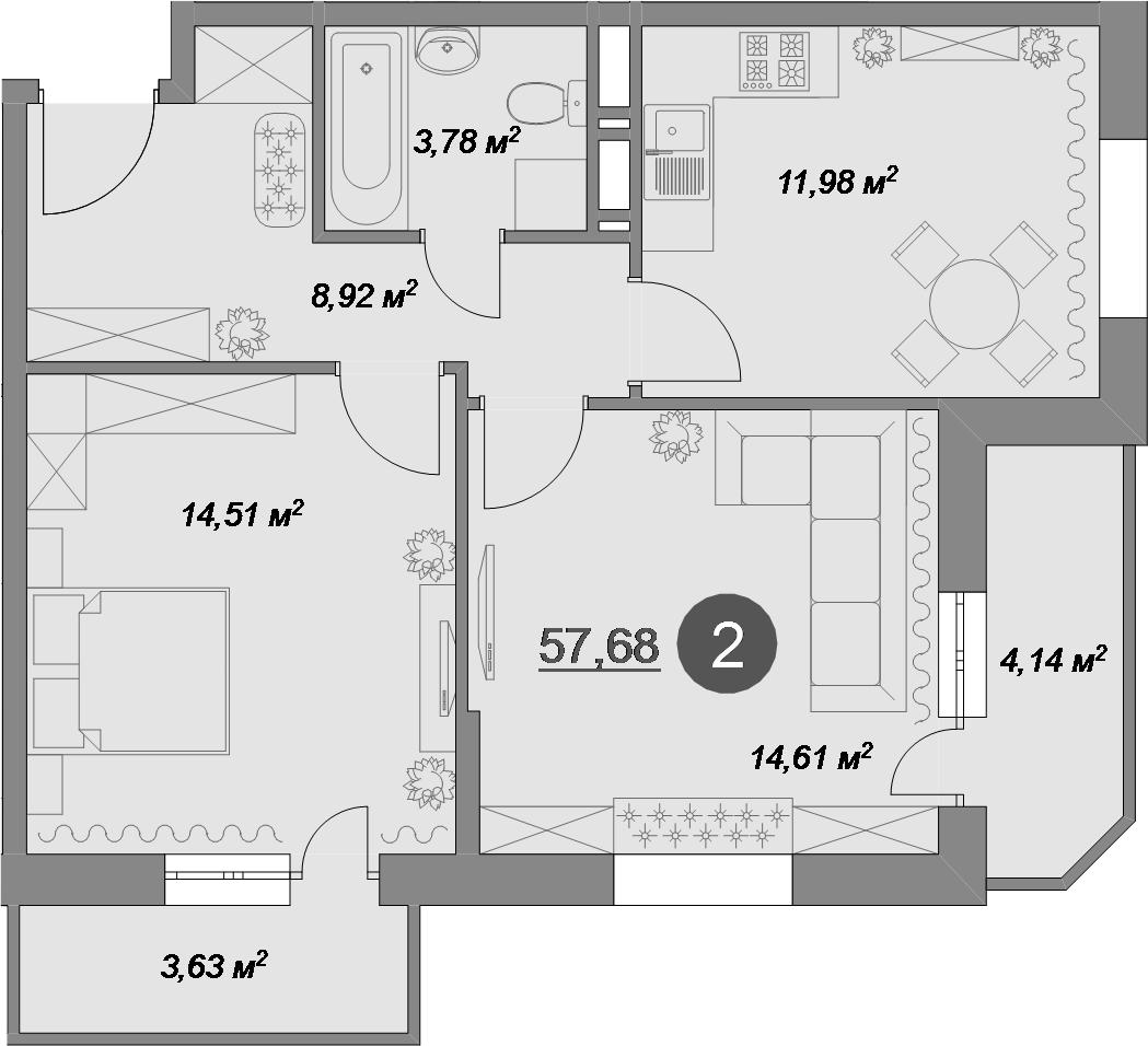2-к.кв, 57.68 м², 1 этаж