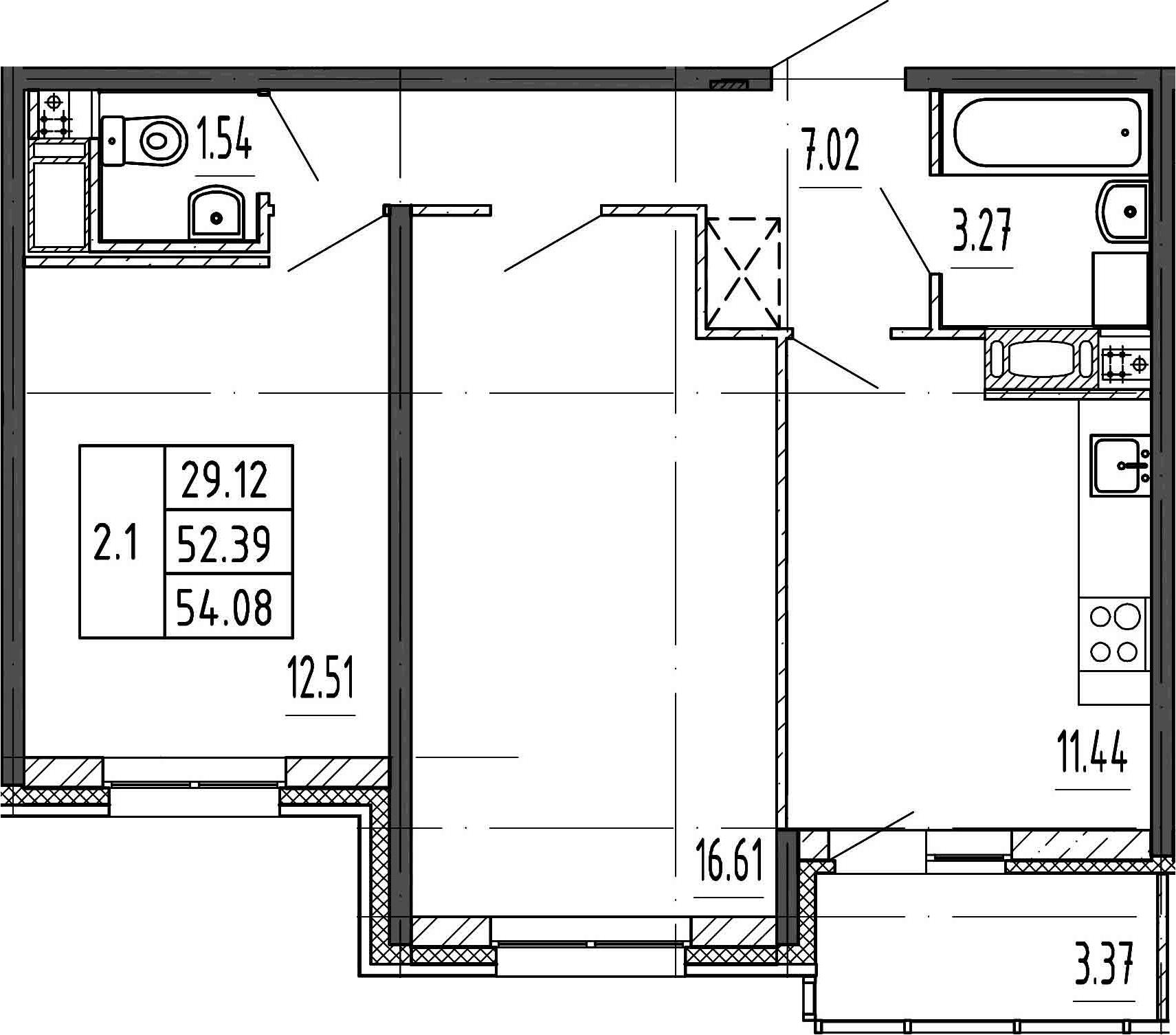 3Е-комнатная, 52.39 м²– 2