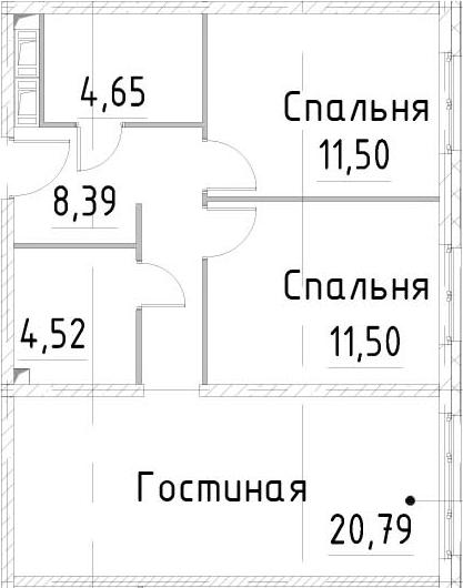 3Е-к.кв, 61.34 м², 20 этаж