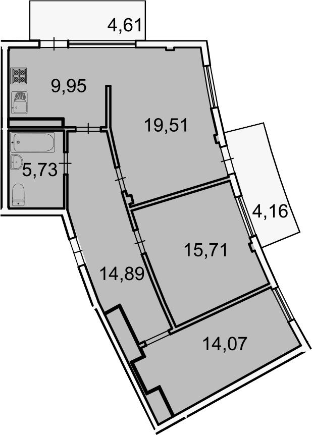 3-комнатная, 82.5 м²– 2