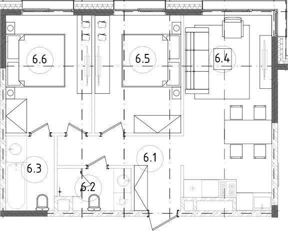3Е-к.кв, 56.29 м²