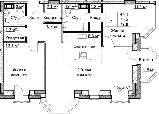 3Е-комнатная, 79 м²– 2