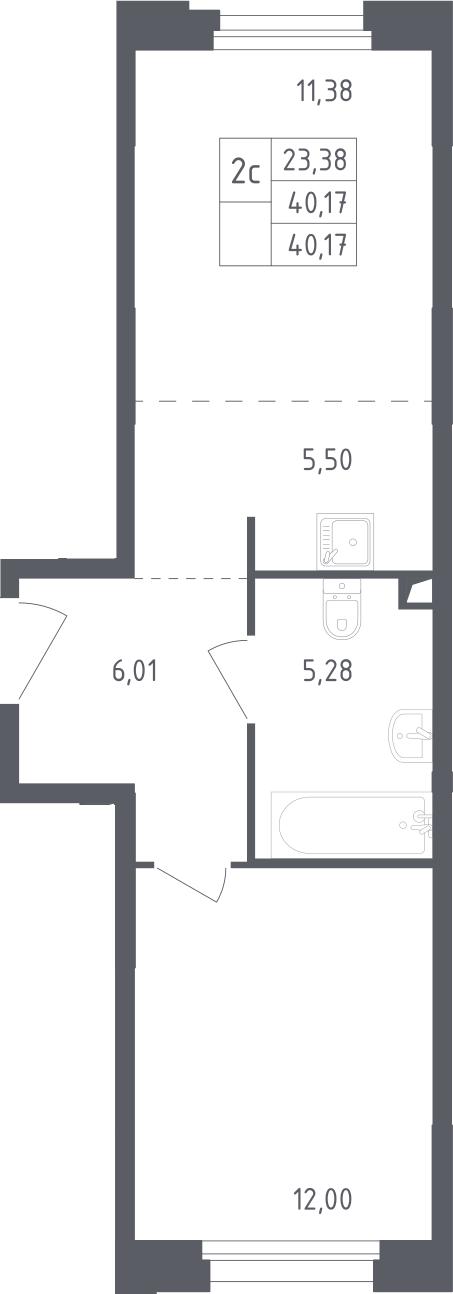 2Е-комнатная, 40.17 м²– 2