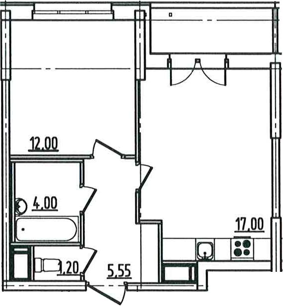 2Е-к.кв, 41.72 м²