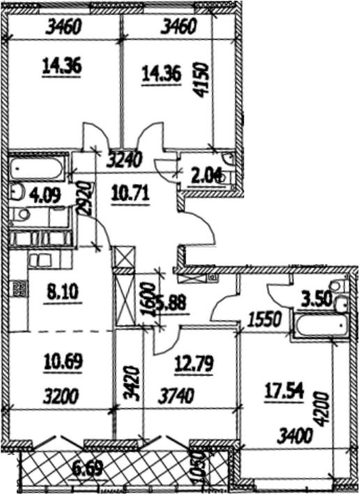 5Е-к.кв, 107.4 м², от 13 этажа