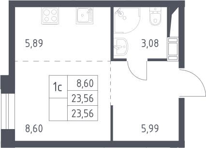 Студия, 23.56 м²– 2