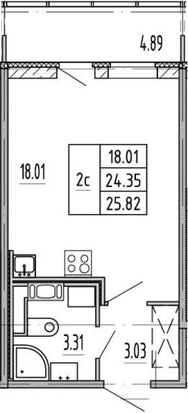 Студия, 24.4 м², 3 этаж