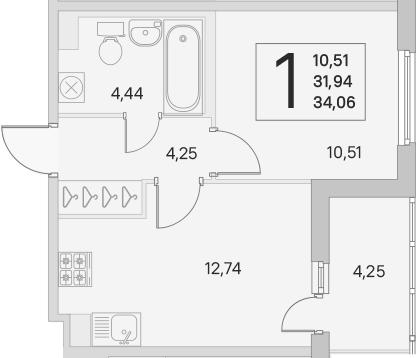 2Е-к.кв, 31.94 м², 1 этаж