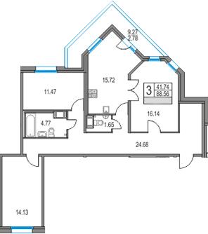 4Е-к.кв, 88.56 м², от 19 этажа