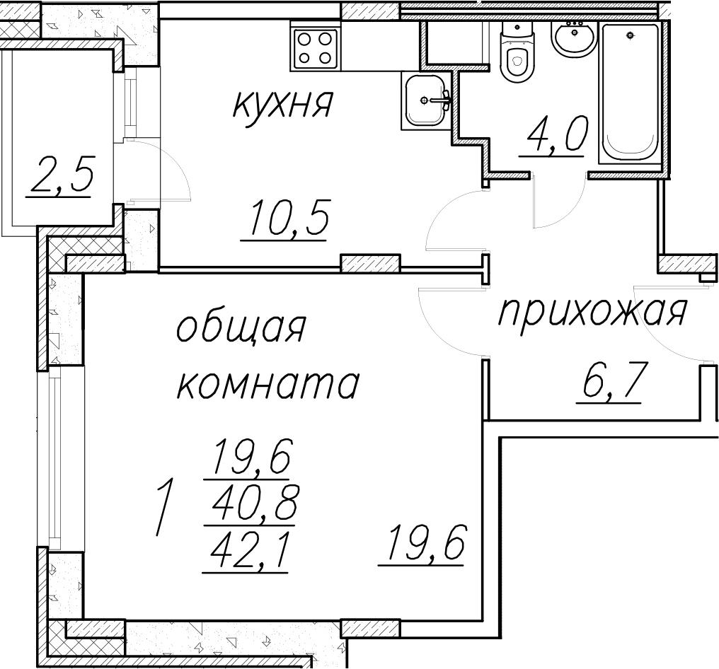 1-комнатная, 42.1 м²– 2