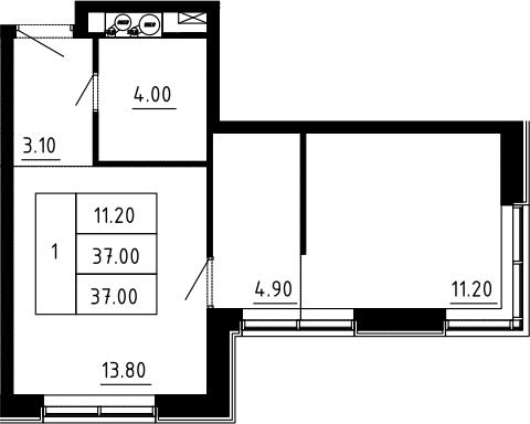 1-к.кв, 37 м², 3 этаж