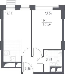 2Е-к.кв, 34.49 м², от 20 этажа