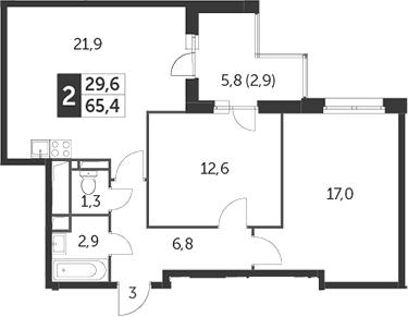 3Е-к.кв, 65.4 м²