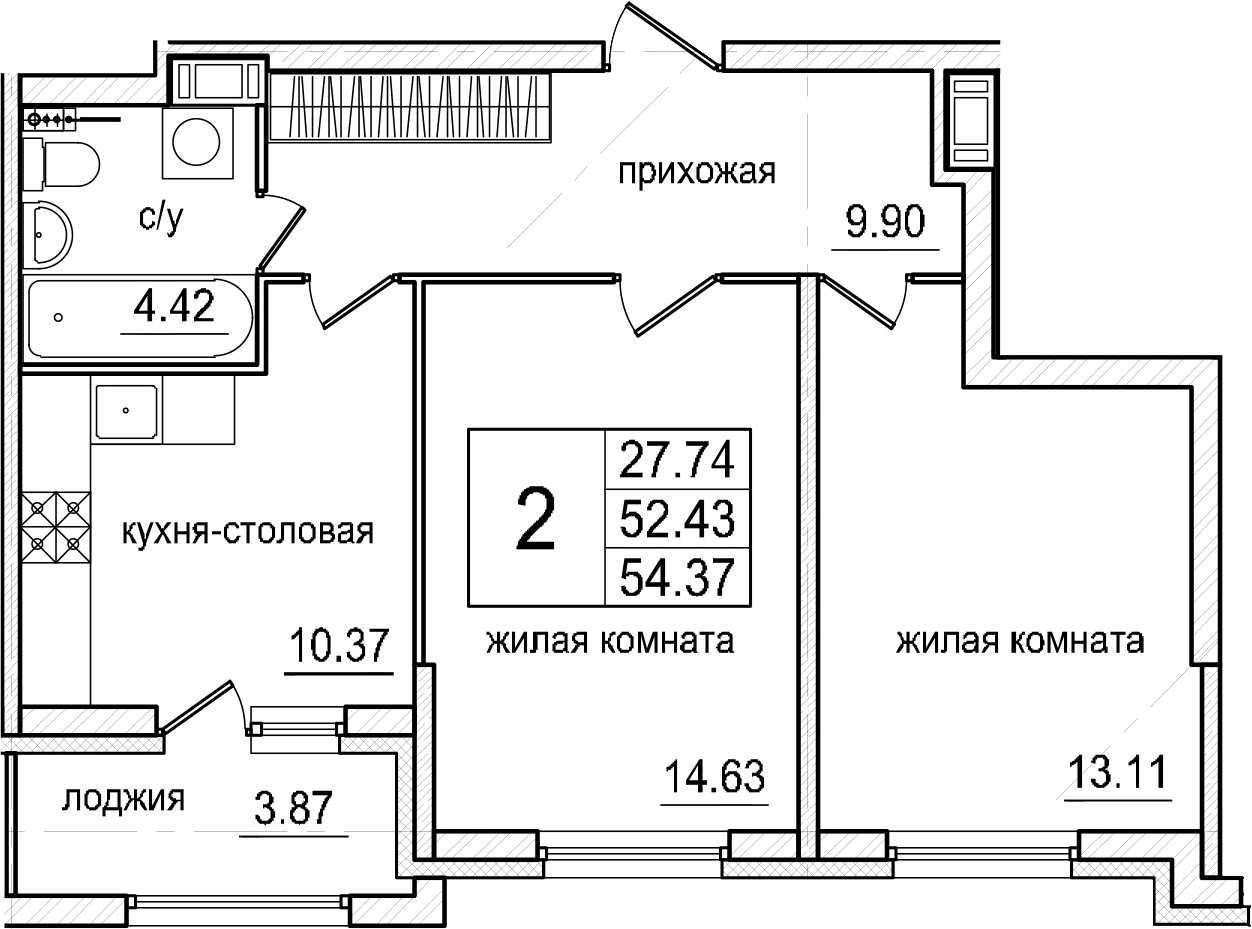 2-к.кв, 54.37 м²