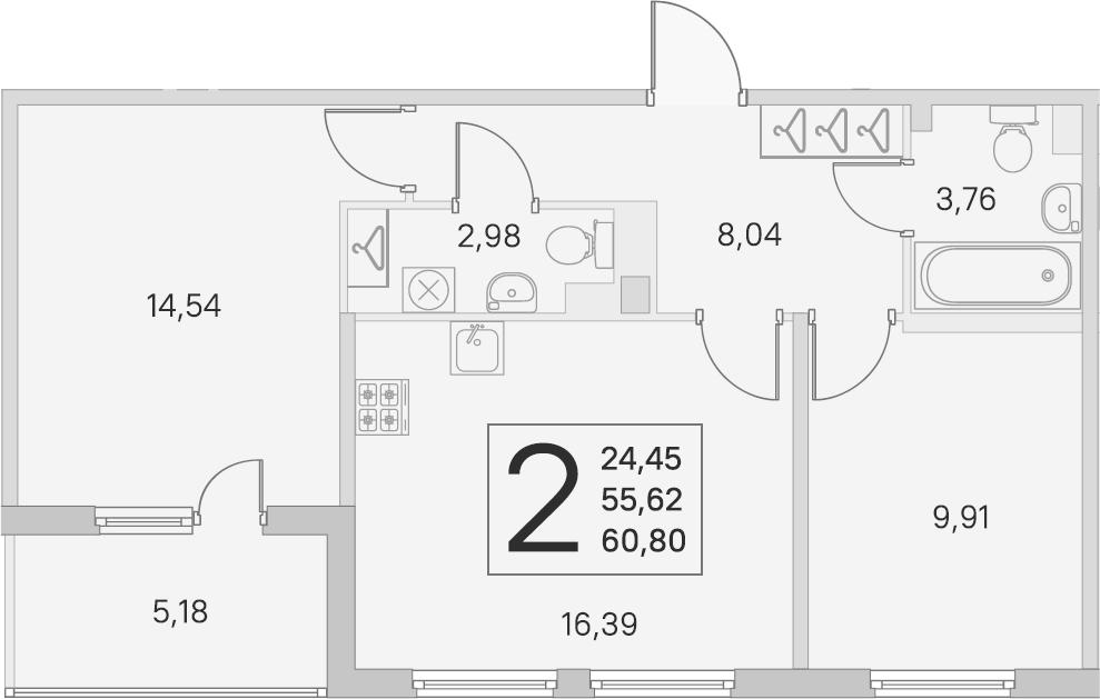 3Е-к.кв, 55.62 м², 2 этаж