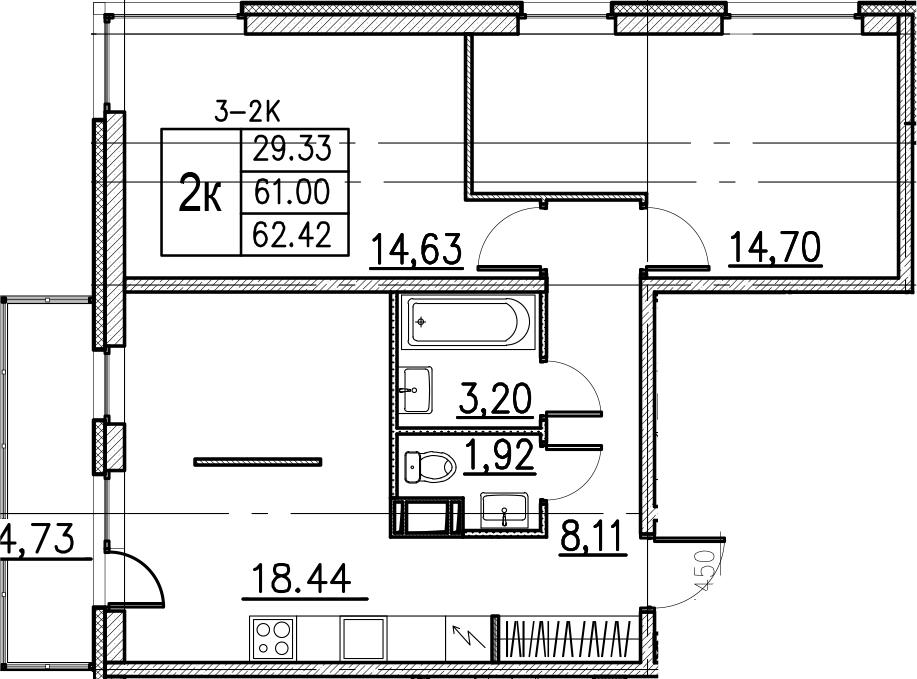 3Е-комнатная, 62.42 м²– 2