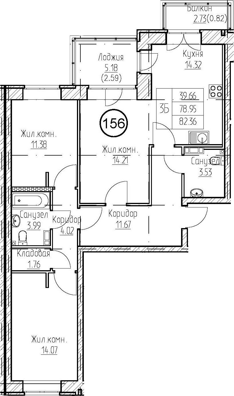 3-к.кв, 86.86 м²