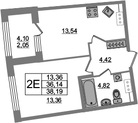 2Е-к.кв, 36.14 м², от 4 этажа