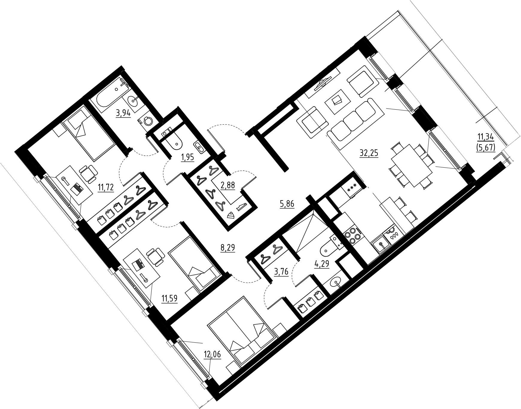 4Е-к.кв, 98.59 м², 9 этаж