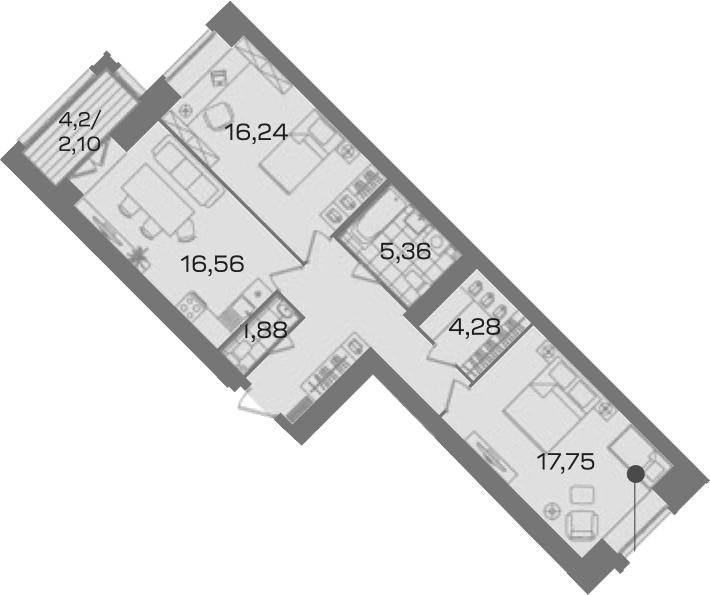 2-к.кв, 76.43 м²