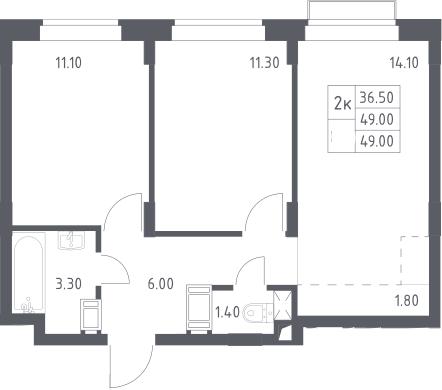 3Е-к.кв, 49 м², 4 этаж