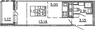 Студия, 25.42 м²