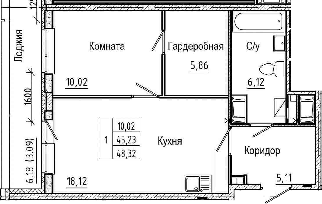 2-к.кв (евро), 51.41 м²