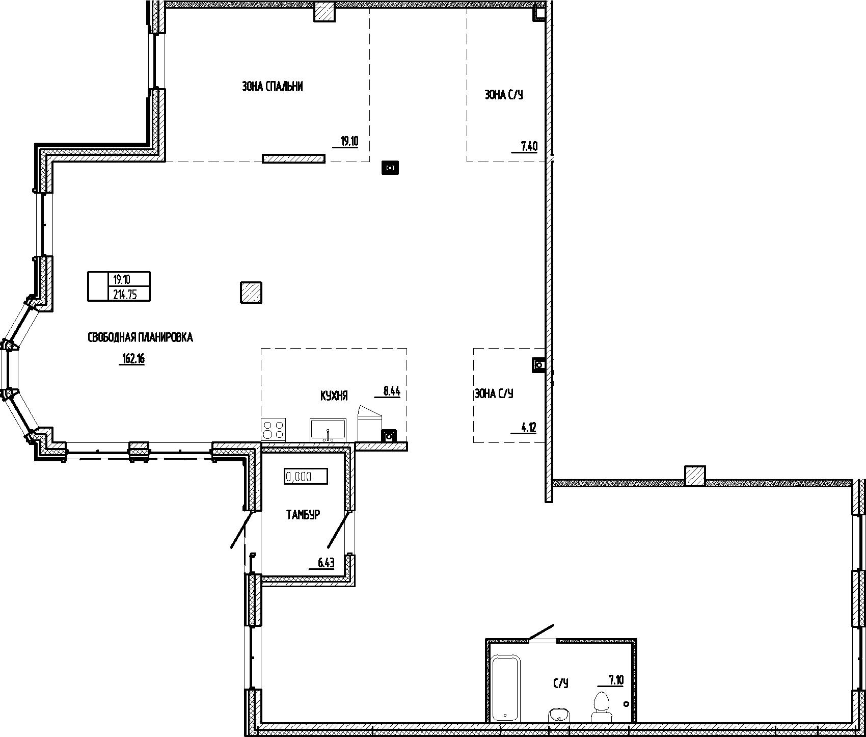 Свободная планировка, 214.75 м²– 2