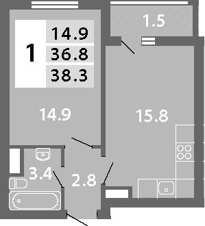 2Е-к.кв, 38.3 м², 11 этаж