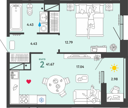 2Е-комнатная, 41.67 м²– 2
