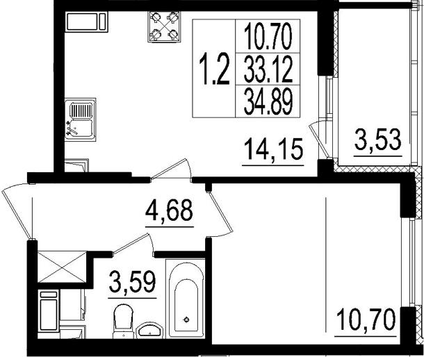 2Е-к.кв, 33.12 м²