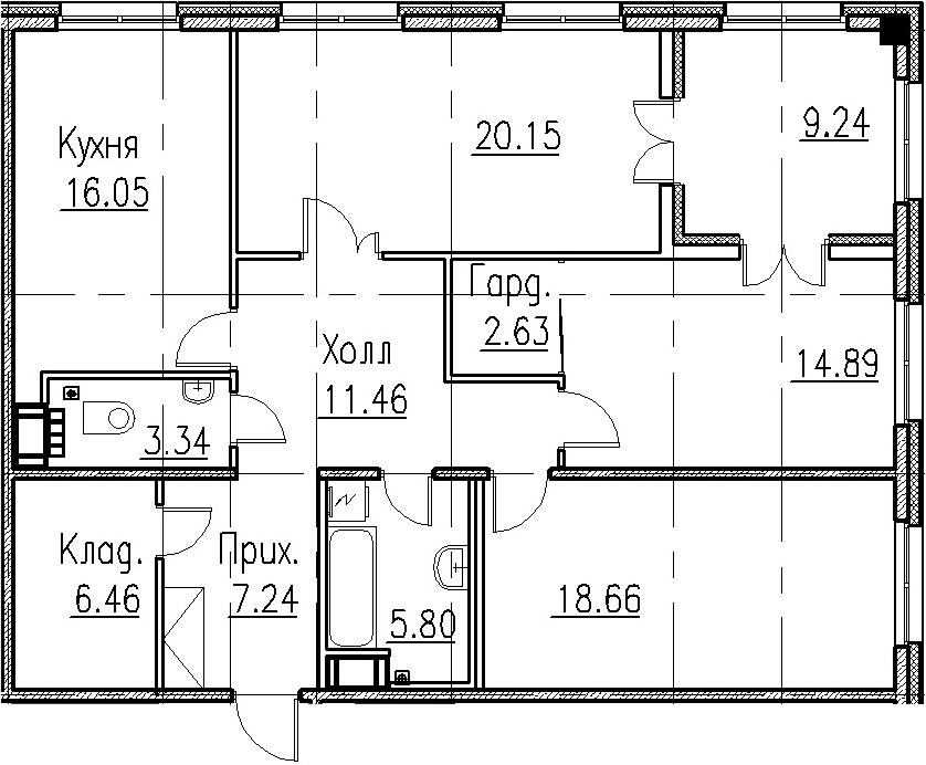 4Е-к.кв, 106.68 м², 5 этаж