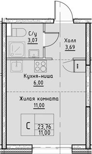 Студия, 23.76 м²– 2
