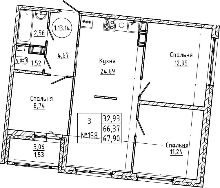 4Е-к.кв, 67.9 м², 13 этаж