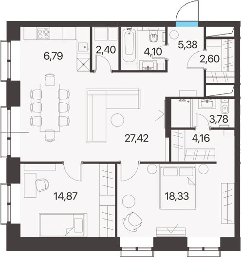 3Е-к.кв, 89.83 м², 12 этаж