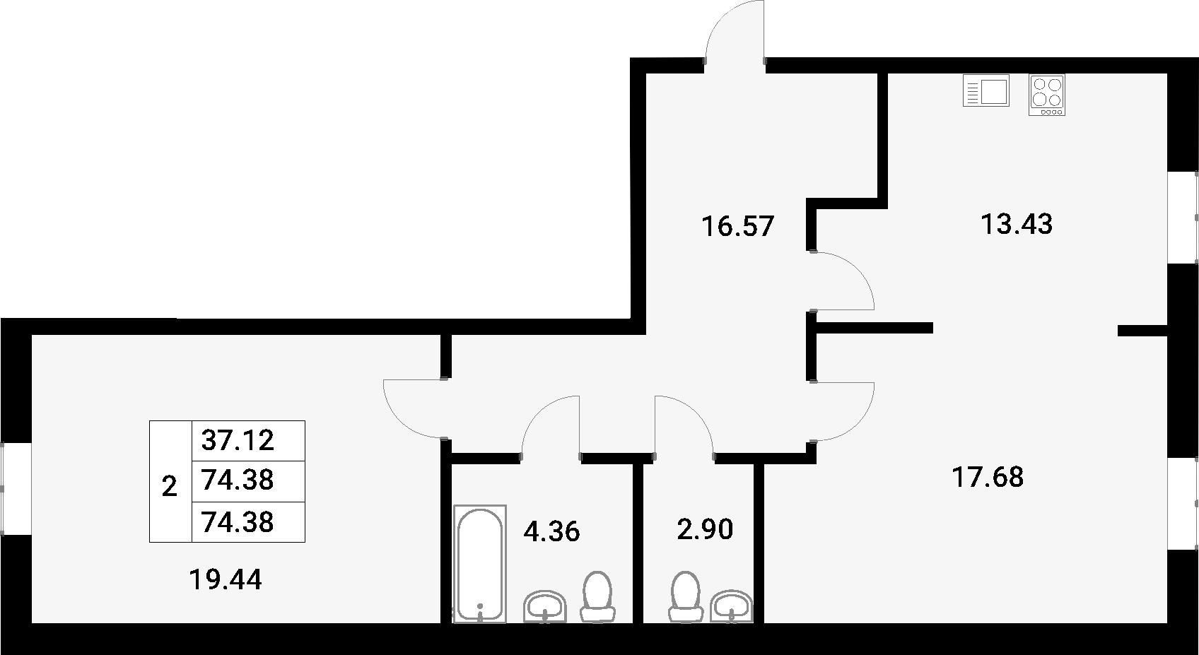 2-к.кв, 74.38 м²
