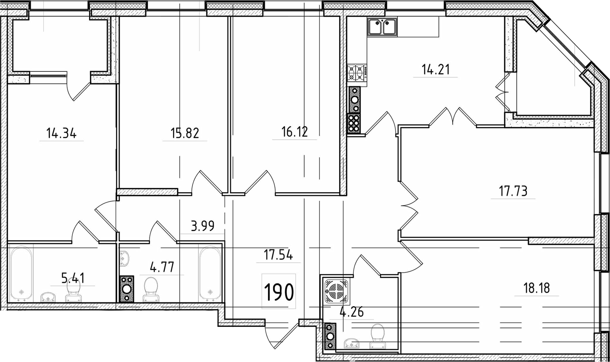 5-к.кв, 136.66 м²