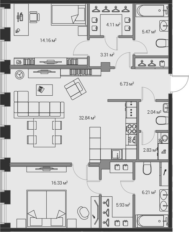 3Е-комнатная, 99.96 м²– 2