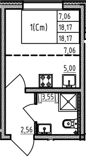Студия, 18.17 м²