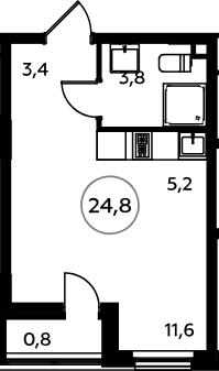 Студия, 25.6 м²