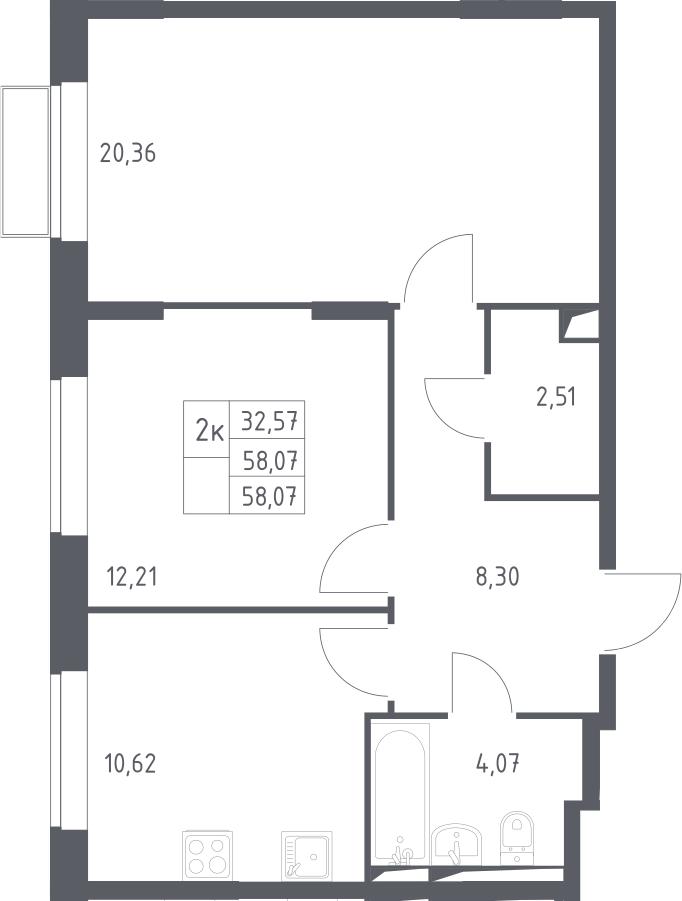 2-к.кв, 58.07 м²