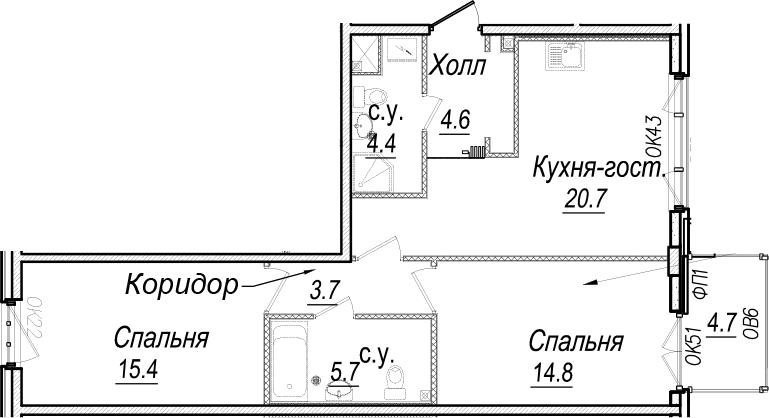 3-к.кв (евро), 73.97 м²